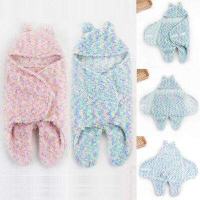 Newborn Infant Kid Baby Boy Girl Colorized Swaddle Sleeping Bag Wrap Bed Blanket