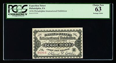 1876 CENTENNIAL INTER EXHIBITION 1st ADMISSION TICKET RED CHOICE NEW UNC PCGS 63