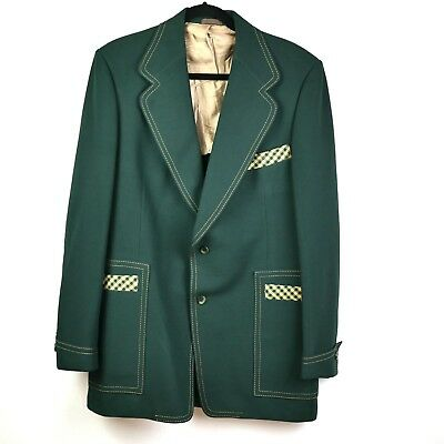 Vtg Swell Supreme Jacket Sport Coat Green Mens Size 44 Plaid Trim Funky Blazer