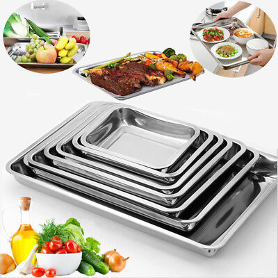 Stainless Steel BBQ Serving Tray Grill Rectangular Plate Food Platter Container