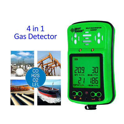 Handheld Digital AS8900F 4in1 Gas Detector O2 H2S CO LEL Gas Monitor With Case