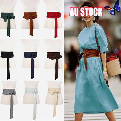Japanese Retro Bow Obi Belt Wide Strap Sash Tie Coat Dress Corset Wiastband Cute