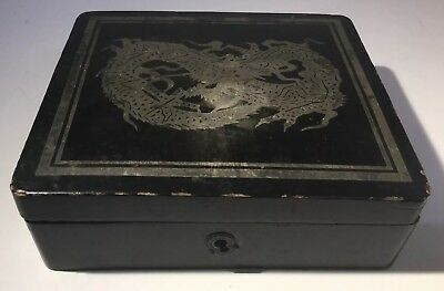 Antique Vintage Chinese Lacquer Jewellery Box For Restoration With Dragon Design
