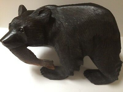 Rare Antique Very Large Black Forest Bear With Salmon In Mouth, 4.kg,714,grams,