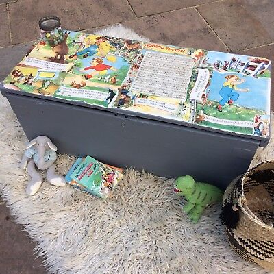 Vintage Antique Chest Trunk Storage Toy Box Painted Coffer Comic Grey Pine