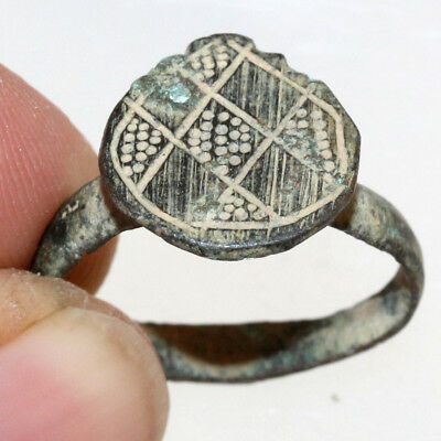 PERFECT-Late Byzantine Bronze Decorated ring Circa 1000-1300 AD