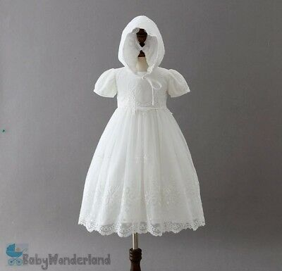 Baby Girls White Christening Gown Baptism Gown Birthday Lace Dress Size 0-2Years