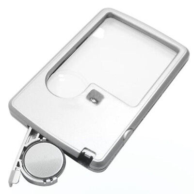 Credit Card 88 * 57 * 9 mm LED Loupe Magnifier with Light Leather Case Brand New