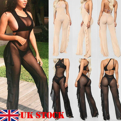 UK SEXY Womens Playsuit Bodycon Party Backless Jumpsuit Romper Trousers Clubwear