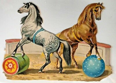 Antique Vintage Trick Circus Horses With Ball & Barrel Embossed Die Cut Scrap