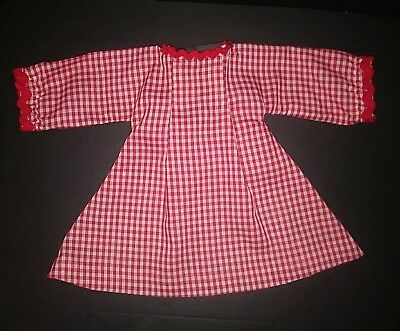 """Vintage 1950s Large 20"""" DOLL Red White Check Gingham DRESS"""