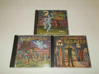 halloween sounds party music cd lot 3 haunted house spooky songs scary stories