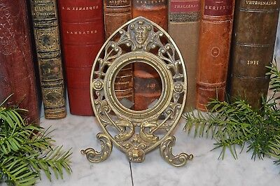 Antique French Brass Clock Pocket Watch Picture Frame Figural Face Gothic Fish