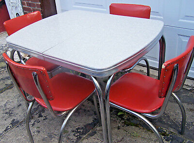 VINTAGE FORMICA TABLE - Cracked Ice - Gray/White w/Leaf & 4 VINTAGE CHAIRS