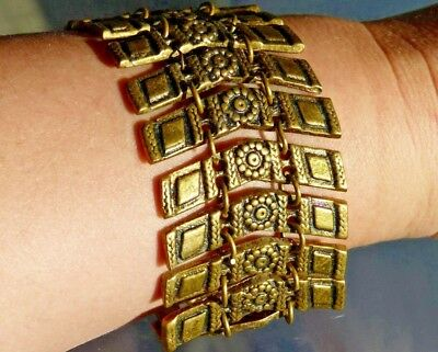 Antique 1920s Bracelet Brass Bulgarian Ethnic Traditional Jewelry Vintage Rare