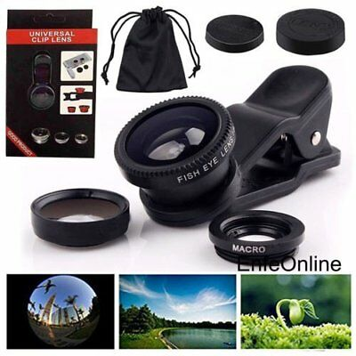 For iPhone 5 5S SE 6 6 Plus 3in1 Clip-on Lens Fish Eye+ Wide Angle+ Macro Camera