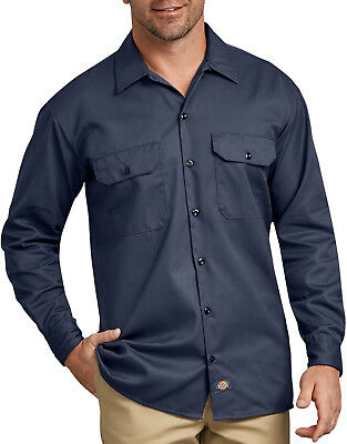Long Sleeve Work Shirt, Navy Blue Dickies authentic