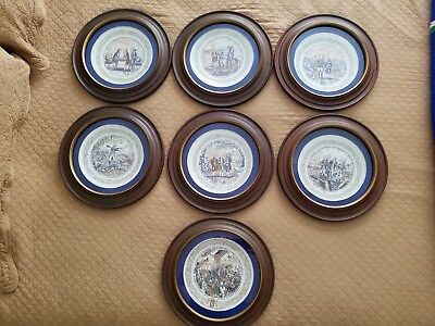 COMPLETE SET Of 7. The Lafayette Legacy Collection Plates in mahogany frames.