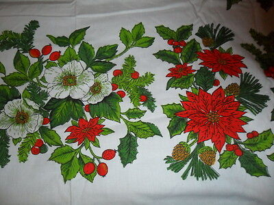 Vintage Christmas Tablecloth-White Camelia Poinsettia & Holly -50X66""