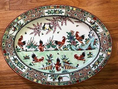 Vintage Y. T. Porcelain Platter  Decorated In Hong Kong China Chickens Roosters