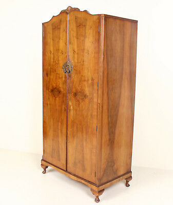 Antique Vintage Wardrobe Compactum Walnut Amoire Queen Anne Gents Wardrobe