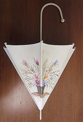 Vintage Mid Century Metal Wall Hanging Planter Hand Painted Flowers Plant Holder
