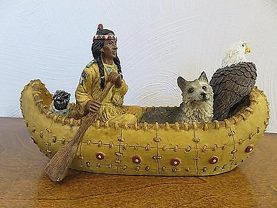 Native American Indian Canoe Figurine Wolf Eagle Brave Canoe Young's 9 1/2""