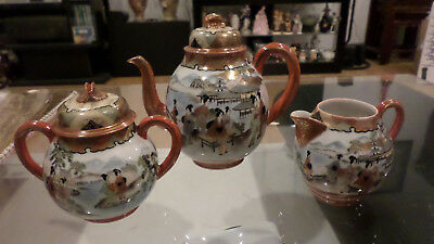 3 Pieces of Antique Japanese Tea Set Meiji Kutani Porcelain Hand Painted