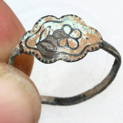 Very Interest Early Medieval European Bronze Ring with Floral Circa 1000 AD