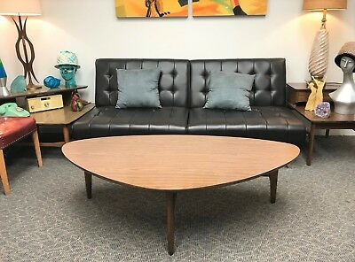 "Vintage 56"" MCM Danish Kidney Shaped Coffee Table with Attractive Walnut Base"