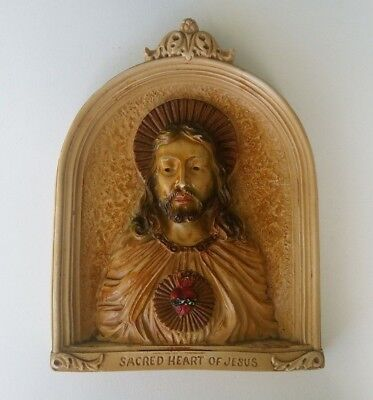 Antique Sacred Heart Of Jesus Christ Chalkware Religious Wall Plaque