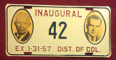 1957 District Of Columbia 42 Inaugural License Plate ** New** Vip Low Number!!