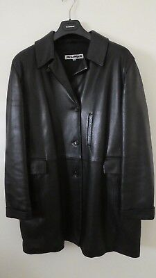 Vintage Women Jil Sander Long Black Leather Jacket, Size 38 (very large sized)