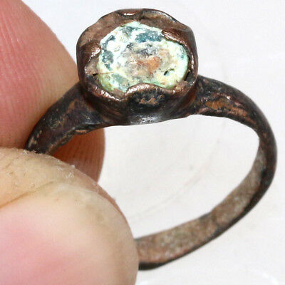 Roman Bronze Ring With Nice Unknown Stone CA 300-400 AD