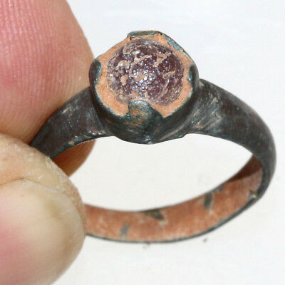 PERFECT-Roman Bronze Ring With Nice Unknown Stone CA 300-400 AD