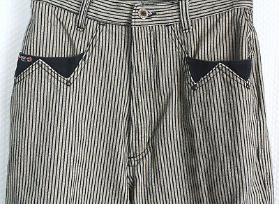 VTG 80s Jeans High Waisted Western Striped beige and black Mom size 7