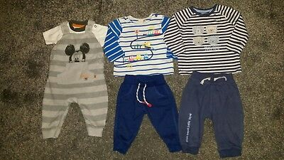 baby boy clothes bundle 3-6 months Autumn Winter Mickey Dungarees Outfit Jumper