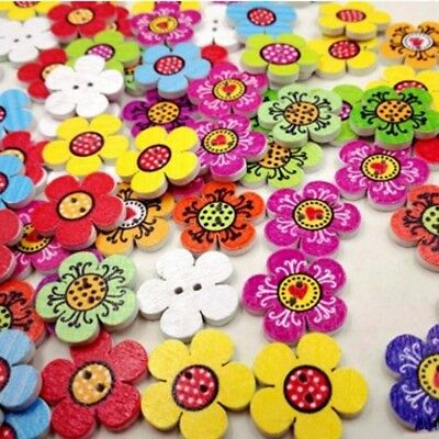 100PCS DIY Sewing Scrapbooking 2 Holes Wooden Buttons Mixed Colors Cute Flower