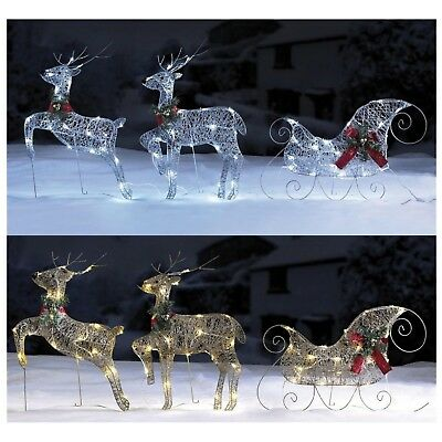 Reindeer and Sleigh Set - Outdoor LED Christmas Lights - Silver or Gold