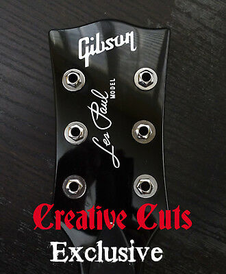 Gibson Les Paul Standard Model Headstock Vinyl Decal Inlay set Metallic Silver