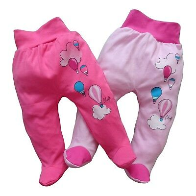 *BNWT* Baby GIRLS Trousers Pants with feet *100% Cotton*  0-3/3-6/6-9 Months