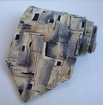 Mens Cocktail Collection Necktie Tie Artistic Design 100% Silk Beige/Tan multi