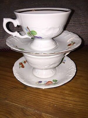 Royal Kent China Fruit Garland Cup Saucer Set of 2  Excellent Porcelain Poland