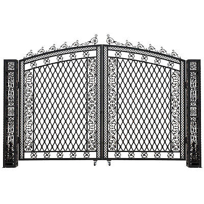 Aluminum Driveway Tall  Entry Gate Wide Dual Swing Bridgeton Moore, 127''H.