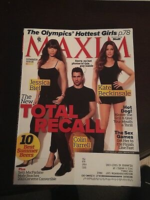Maxim Magazine July August 2012 Total Recall Labeled Jessica Biel