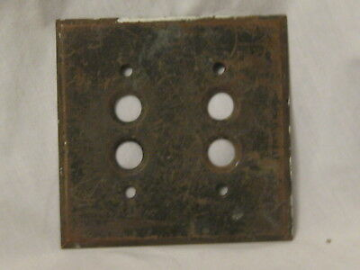 antique switch plate cover four button hole old vintage metal