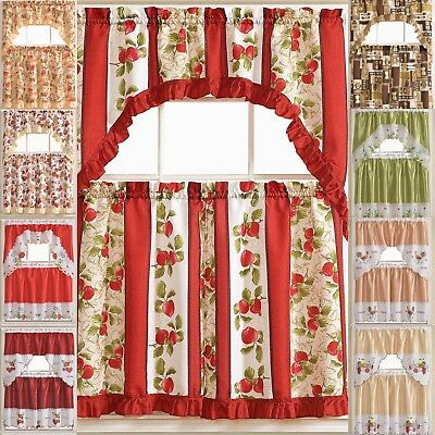 Kitchen Curtains 3 Pc. Set with Attached Valance Tier and Swag Set Red Brown