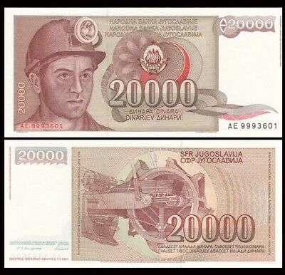 YUGOSLAVIA 20,000 (20000) Dinara, 1987, P-95, World Currency