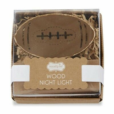 NEW NIB Mud Pie Football Wood Wooden Night Light for Baby Nursery or Child