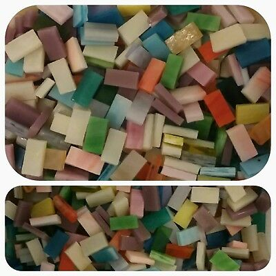 """200 - 1/4"""" x 1/2"""" Mosaic Tiles Stained Glass Border Strips mixed pink blue more"""